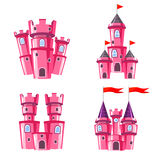 Set of pink fairy castles. Set of four editable pink castles for game design Stock Photo