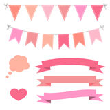 Set of pink flat buntings garlands, ribbons and speech bubble Royalty Free Stock Photography