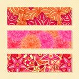 Set of Pink Floral Business Cards. Flower Banner Collection royalty free illustration