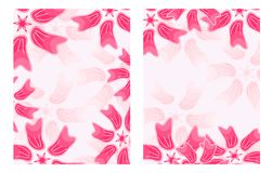 Set of  Pink Floral Card Stock Photos