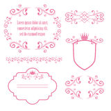 Set of pink floral frames with crowns Stock Photo