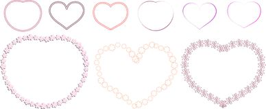 Set of flower frames in the shape of a heart royalty free illustration