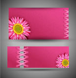 set of pink with flowers Royalty Free Stock Photography