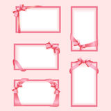 Set of pink frames with a bow Stock Photography