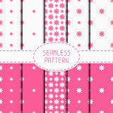 Set of pink geometric floral seamless pattern with Royalty Free Stock Images