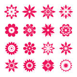 Set of pink geometric flowers. Vector Illustration. Set of red geometric flowers. Vector Illustration and icons royalty free illustration