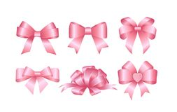 Set of pink gift bows. Concept for invitation, banners, gift cards, congratulation or website layout vector. vector illustration