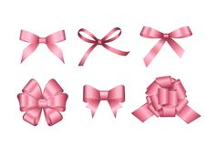 Set of pink gift bows. Concept for invitation, banners, gift cards, congratulation or website layout vector. Set of Vector Shiny Pink Satin Gift Bow Isolated on Stock Photos