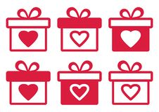 Set of gift boxes for Valentine`s Day. Vector illustration stock illustration