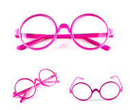 Set of pink glasses Royalty Free Stock Images