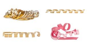 Set of pink and gold paper horizontal ribbon Stock Photo
