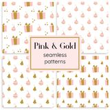 Set of pink and gold seamless vector patterns. royalty free stock photo