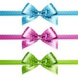 Set of  pink, green and blue photorealistic silk polka dots bows Stock Photography