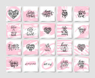Set of pink grunge happy valentines day handwritten lettering ho Royalty Free Stock Image