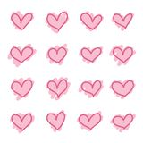 Set of pink hand drawn hearts sketch royalty free illustration