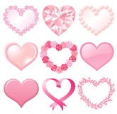 Set of pink hearts. Set of pink heart decorations.  Vector illustration Royalty Free Stock Photography