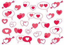 Set of pink hearts royalty free illustration