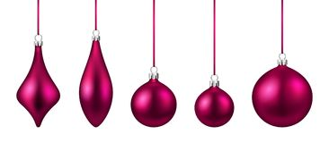 Pink isolated Christmas balls set. Royalty Free Stock Image