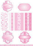 Set of pink labels with seamless ribbons Stock Image
