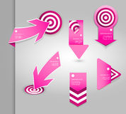 Set of pink labels for wide variety of use. Stock Photos