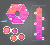 Set of pink labels for wide variety of use. Stock Images
