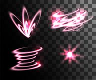 Set of pink light effects glowing light rings with particles decoration isolated on the transparent background website page. And mobile app design royalty free illustration
