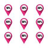 Set of pink map pins with different percentage. Isolated Royalty Free Stock Images