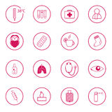 Set of 16 pink medical signs Stock Images