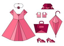 Set of pink origami fashion lady accessories Royalty Free Stock Photos