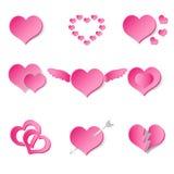 Set of pink paper style valentine hearth love symbols eps10 Stock Photo