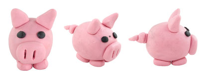 Set of pink pig made from plasticine Stock Photography