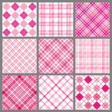 Set of Pink Plaids. A set of nine plaid patterns in shades of pink Stock Photo