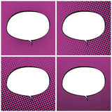 Set of Pink Pop Art Retro Speech Bubble Royalty Free Stock Images