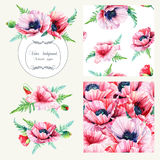 Set of pink poppies, frame, decorative element and two seamless Royalty Free Stock Photo