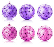 Set of pink and purple Christmas balls isolated on the white bac Royalty Free Stock Image