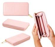 Set of pink purse woman. Royalty Free Stock Photo