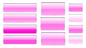 Set of pink rectangular and square glass transparent bright beautiful vector buttons of different shades with a silvery metal fram. E for clicks, clicking icons Stock Illustration
