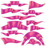 Set of Pink Ribbons. Isolated on White Background. Flag Collection Stock Image