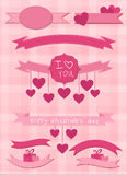 Set of pink ribbons and labels Royalty Free Stock Images