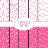 Set of pink romantic geometric seamless pattern Stock Photos