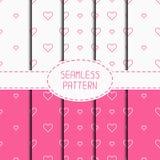 Set of pink romantic geometric seamless pattern Royalty Free Stock Photography