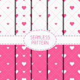 Set of pink romantic geometric seamless pattern Stock Photo