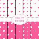 Set of pink romantic geometric seamless pattern Stock Image