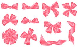Set of pink satin gift bows and ribbons.  Stock Photo