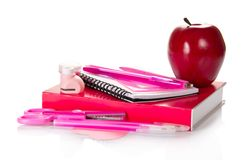 The set of pink school accessories Stock Image