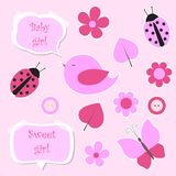 Set of pink scrapbook elements for baby girl Royalty Free Stock Photo