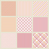 Set of pink seamless geometric striped patterns. Set of nine pink seamless geometric striped patterns Royalty Free Illustration