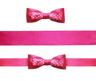 Set of pink silk ribbon and bow Royalty Free Stock Photos