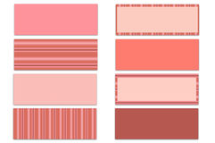 Set of 8 Pink Solids & Stripes Themed Facebook Timeline Covers Isolated on White. Set of 8 assorted shades of pink solid & stripe pattern Facebook timeline Royalty Free Stock Image