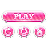 Set of pink striped glassy vector buttons Royalty Free Stock Photography